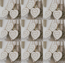 Set Of 3 Vintage Shabby Chic White Wooden Hanging Hearts Home Decoration 6x6 cm