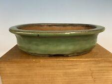 Green Oval Lg. Shohin Size Tokoname Bonsai Tree Pot By Shuho 9 3/4�