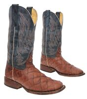 CUSTOM Cowboy Boots 5 M Youth VTG Brown EXOTIC LEATHER Western Rodeo Roper Boots