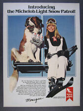 1980 St. Saint Bernard Skier Chairlift photo Michelob Light vintage print Ad