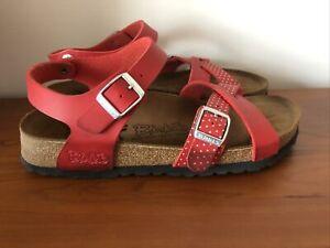 BIRKI'S BY BIRKENSTOCK LILLE Red Polka Dot Womens US 6 EU 37 Sandals Cork