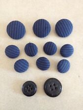 Vtg Lot of 12 Mid Century Navy Blue Textured Cloth Covered Shank Buttons