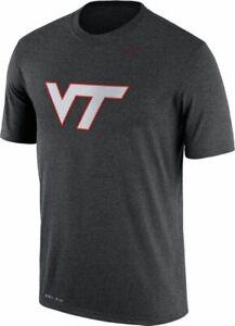 Nike Men's Virginia Tech Hokies Logo Charcoal Gray T Shirt
