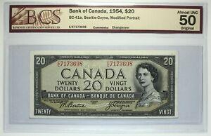 Canada 1954 - $ 20 - BC-41a  - Beattie-Coyne - BCS graded AU-50 Prefix EE