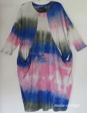 NAVEED Oversize Batik Kleid Casualstyle + Taschen weiß-blau-olive-puder 48-50(1)