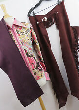 Women's 3 Piece Custom Western Show Outfit Jeweled Pants Chaps Pink Brown PK