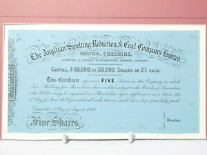 1859 Anglican Smelting Reduction & Coal Co. Share Certificate UNUSED Mounted #SC