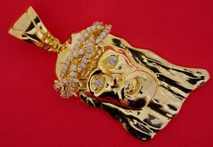 1.25 Carat Diamonds 4 Inch Mens Jesus Pendant Charm 10k Solid Gold Sparkling !!!