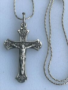 """Sterling Silver Beautiful CHAPEL Religious Crucifix Cross Chain Necklace 18"""""""
