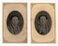 OLD VINTAGE ANTIQUE TINTYPE PHOTO 2 PHOTOS of CUTE YOUNG TWIN GIRLS w/ FRECKLES