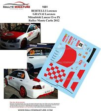 DECALS 1/43 REF 1681 MTSUBISHI LANCER BERTELLI RALLYE MONTE CARLO 2012 RALLY