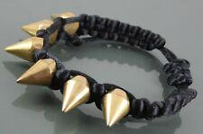 Gold Spike Bangle Bracelet Unisex Style On Silky Black Macrame Woven Cord