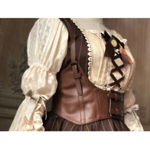 Women Cospaly Lolita Leather Bra Corsets Body Bondage Chest Cage Harness Belts