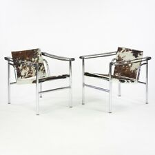 1960's Vintage Pair Le Corbusier LC1 Cassina Basculant Chairs Cowhide Marked