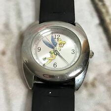 Disney Tinkerbell Silver Tone Sunray Dial Black Strap Watch TK1031 New Battery
