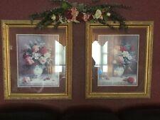 Htf Rare Home Interior Homco Vase Of Flowers Gold Frame Pictures Retired