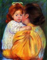 Maternal Kiss by American  Mary Cassatt. Canvas Children.  11x14 Print