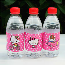 12 Hello Kitty Water Bottle Labels Waterproof Glossy Party Birthday Decoration