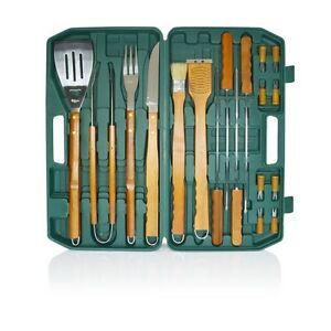 New Picnic Time Barbecue 18Pc Tool Set Green for Picnics and Camping+Case