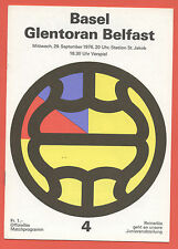 Orig.PRG    UEFA Cup  76/77    FC BASEL - GLENTORAN BELFAST  !!  SELTEN