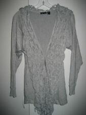 AVA Silver Gray Bubble Knit Long Sweater Wrap Cardigan Shrug Sz S M NWT
