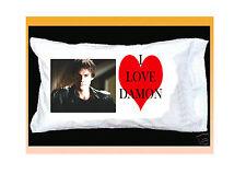 I LOVE DAMON SALVATORE PILLOWCASE & RED HEART Vampire Diaries IAN SOMERHALDERE