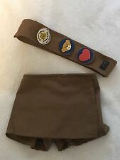 Build A Bear BABW Brownie Scout Sash, Patches & Skort (skirt / short) Outfit Set