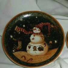 SNOW MAN CHRISTMAS XMAS BUNTING GINGERBREAD MAN Winter Snowy Dark Scene Plate