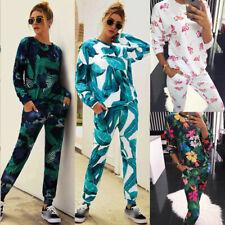 2PCS Womens Tracksuit Shirt Top Pants Set Floral Long Sleeve Lounge Wear Suit UK