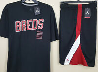 "NIKE JORDAN XI RETRO 11 ""BREDS"" OUTFIT SHIRT + SHORTS BLACK RED NEW (SIZE 2XL)"
