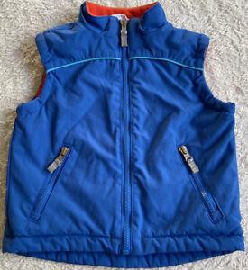 Hanna Andersson Boys Vest Sz2(80) EUC Blue W/Orange Fleece Lining