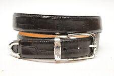 Martin Dingman Mens Dress Belt 36 Black Alligator Print Calfskin Leather USA