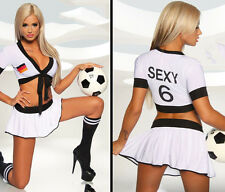 Short Sleeve Crop Top Cheerleader Football Baby Sexy Costume Uniform Skirt S M