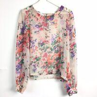 Glamorous Sheer Floral Botanical Blouse Blogger Floaty Top LS Romantic 14 UK