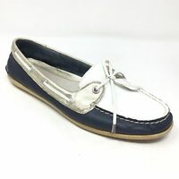 Women's Sperry Top-Sider Boat Shoes Sneakers Size 10M Navy White Leather H15