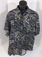 Marc Edwards Men's Hawaiian Shirt Sz XL Navy Blue Black 100% Silk