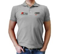 Audi S Line T-Shirt MENS Polo Embroidered logo  Auto Car Gift Clothes  quattro