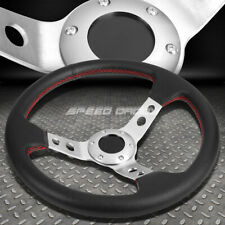 "350MM 3"" DEEP DISH 6-BOLT SILVER RACING STEERING WHEEL RED STITCHING+HORN BUTTON"