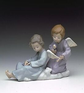 LLADRO ANGEL CARE LLADRÓ 5727 Mint IN Box Retired 2 Angels Brushing Wings
