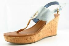 Tommy Hilfiger Size 9 M Blue T-Strap Synthetic Women Sandal Shoes