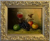 Antique oil painting on canvas, Still life, fruits, Framed, Signed Wells