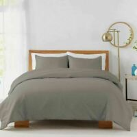 450-Thread-Count Cotton Sateen KING Duvet Cover Set in Grey