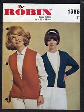 c1960s Knitting Pattern: Robin 1385: Low Buttoning Cardigans
