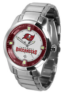 Tampa Bay Bucs Watch Mens Game Time Titan Stainless Date Wristwatch