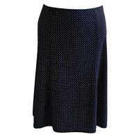 Fashion Bug Womans Pull on A-LineSkirt Stretch Black White Polka Dot Sz 14-16
