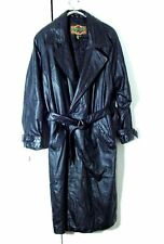 Vtg G3 III Global Black Leather Double Breasted Womens Trench Coat Sz M