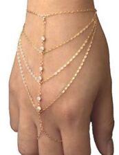 Celebrity Multi Gold Chain Tassel Bracelet Bangle Slave Finger Ring Hand Harness