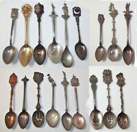 18 Spoon Lot Vintage Collectible Travel Souvenir Silver Plated Utah Oregon NY ++