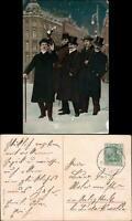 Ansichtskarte  Feiernde Männer - Neujahr - Zylinder 1908