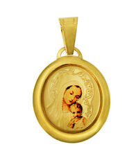 14K Yellow Gold Our Lady of Mount Carmel Virgin Mary Color Picture Charm Pendant